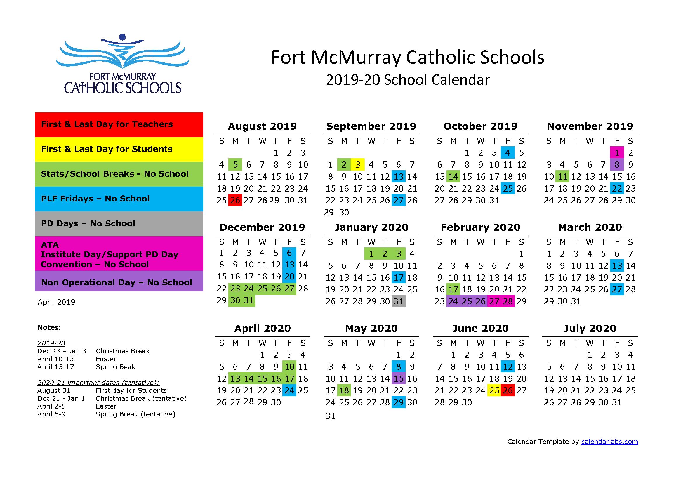 2020 Catholic Calendar School Calendar 2019 2020 | Elsie Yanik Catholic School